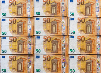 seamless pattern with colorful fifty euro bills