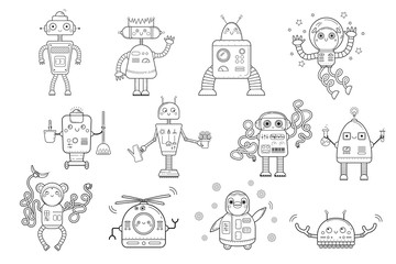 Coloring page outline of cartoon robots. Vector set for kids.