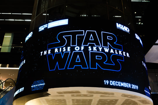 Bangkok, Thailand - Nov 30, 2019: Star Wars The Rise of Skywalker movies logo advertising on LED display screen in cinema theatre. Movie advertisement or film entertainment industry concept