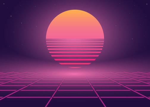 Synthwave 80s retro neon landscape
