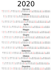 Calendar 2020 Italian holidays marked.