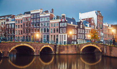 Photo sur Aluminium Amsterdam Stunning Amsterdam canals and typical dutch houses in capital of Netherlands, Europe