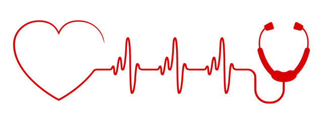 Red heart with stethoscope, pulse one line, cardiogram sign, heartbeat - stock vector