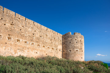 Wall Mural - Turkish medieval fortress at Ancient Aptera in Chania, Crete, Greece.