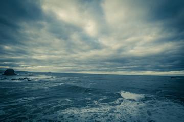 Stormy sea in Dunbar, a seaside town in Scotland, UK