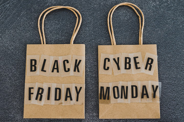 black friday and cyber monday shopping bags
