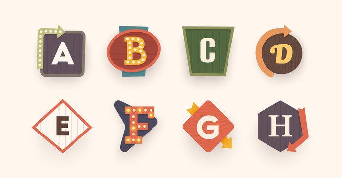Retro font. Letters on vintage style. Retro signs. Alphabet. Vintage label, emblem and logo. Vector illustration