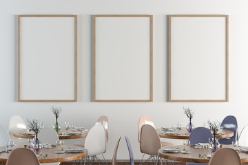 Cafe or restaurant intrerior with blank three vertical posters on the white wall. Front view. Clipping path around poster mock up. 3d illustration.