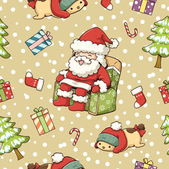 Seamless pattern of cute object Christmas theme, Santa Claus, The dog is wearing a red hat, Gift box, Christmas tree, Red socks, candy, Snow pattern and yellow background, gift wrap pattern and wallpa
