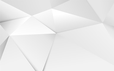 Wall Mural - Abstract 3D geometric white polygon and triangles background
