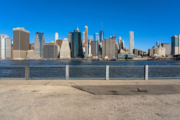 Wall Mural - Scene of New york cityscape river side which location is lower manhattan,Architecture and building with tourist concept