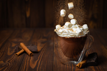 Foto auf Acrylglas Schokolade hot chocolate or cocoa in cup