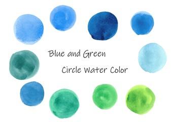 丸の水彩素材セット(ブルー&グリーン系)