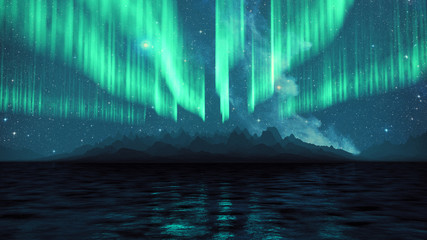 3D Rendering of Aurora borealis with bright stars in blue sky, light reflection on sea water surface, and mountains in foggy environment. Element of this image furnished by NASA
