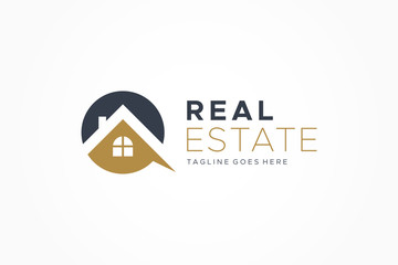 Black Gold Real Estate Logo. Construction Architecture Building Logo Design Template Element