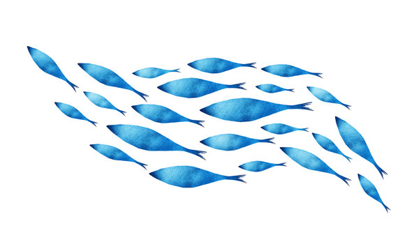 Silhouettes of groups of  fishes on white. Watercolor