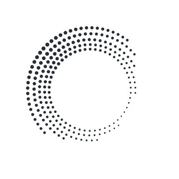 Concentric round geometric element. Halftones   Vector icon on a white background.