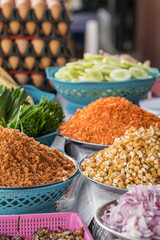Ingredients for Pad Thai, a popular thai street food