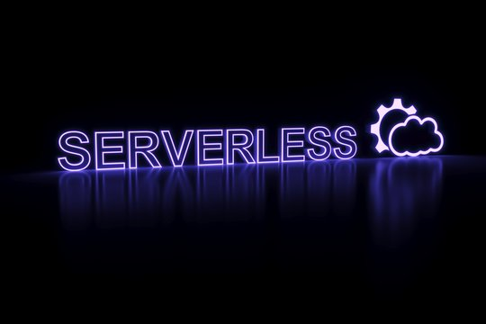 SERVERLESS COMPUTING  neon concept self illumination background 3D illustration