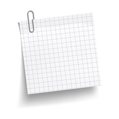 Chequered white sheet of paper with metal paper clip. Metal paper clip attached to paper. Vector illustration.