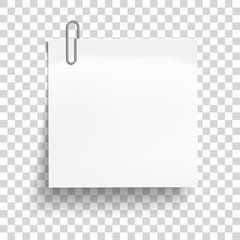 White sheet of paper with metal paper clip. Metal paper clip attached to paper. Vector illustration.