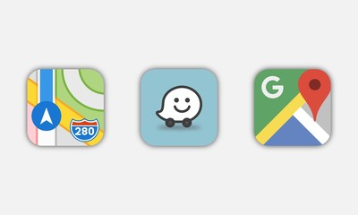 Collection of popular navigation application icons: Google Maps, Waze, Apple Maps
