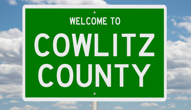 Rendering of a green 3d highway sign for Cowlitz County