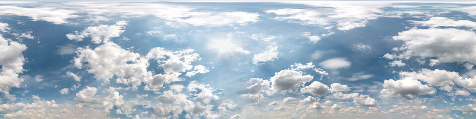 Printed kitchen splashbacks Blue sky blue sky with beautiful cumulus clouds. Seamless hdri panorama 360 degrees angle view with zenith for use in 3d graphics or game development as sky dome or edit drone shot