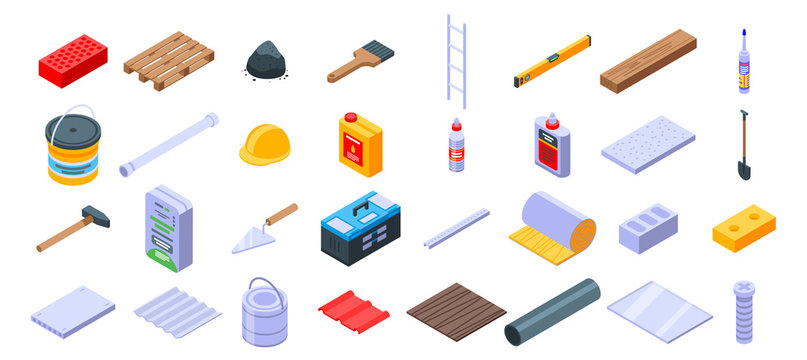 Construction materials icons set. Isometric set of construction materials vector icons for web design isolated on white background