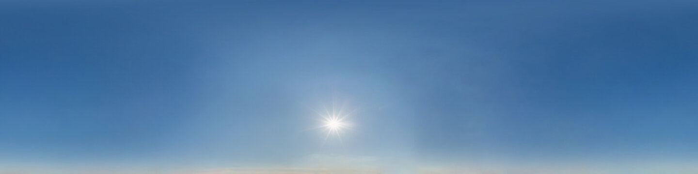 clear blue sky with scorching sun. Seamless hdri panorama 360 degrees angle view with zenith for use in 3d graphics or game development as sky dome or edit drone shot