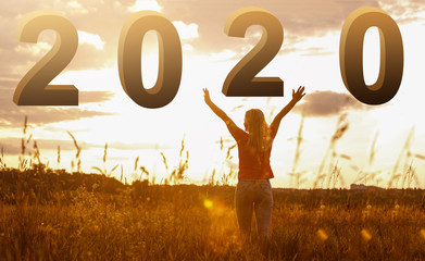 Happy New Year 2020 - Happy Girl With Numbers At Sunrise