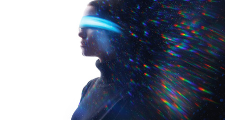 Wall Mural - Double exposure of female face. Abstract woman portrait. Digital art. Girl in glasses of virtual reality. Augmented reality concept. VR. Blue neon light, rainbow. Free space for text.