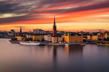 Scenic panoramic view of Gamla Stan, Stockholm at sunset, capital of Sweden.