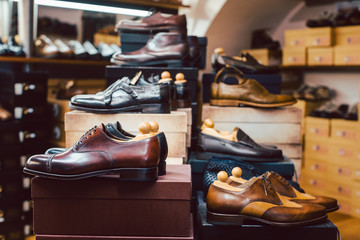 Men's shoes waiting for customers in store
