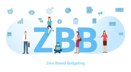 Obraz zbb zero based budgeting concept with big word or text and team people with modern flat style - vector - fototapety do salonu