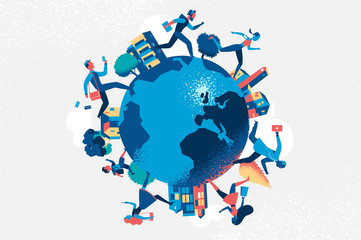 Cities and running people on the globe - Vector