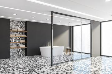 Grey and mosaic bathroom corner with tub