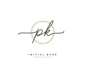 Obraz P K PK Beauty vector initial logo, handwriting logo of initial signature, wedding, fashion, jewerly, boutique, floral and botanical with creative template for any company or business. - fototapety do salonu