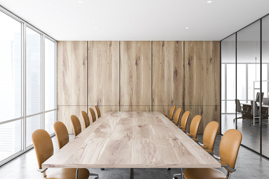 Wood panel meeting room and open space office