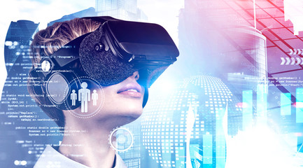 Woman in VR headset and digital interface