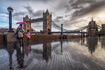 The tower Bridge of London in a rainy morning