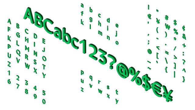 アルファベットのイラスト アイソメトリック フォント