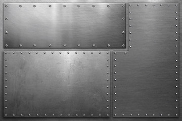 Metal background, metal plates with rivets on steel background