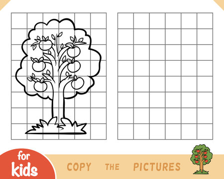 Copy the picture, game for children, Apple tree