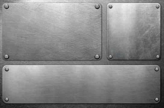 Metal plates on steel background