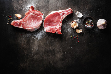 Raw meat with ingredients for cooking Wall mural