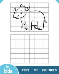 Copy the picture, game for children, rhino