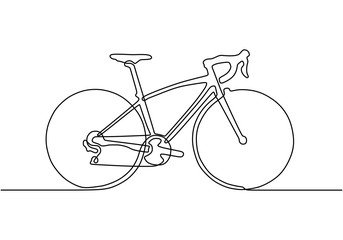 Continuous one line drawing of sporty bicycle or bike minimalism object. Vector sport theme. Fototapete