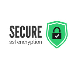 Secure connection icon vector illustration isolated, flat style secured ssl shield symbols