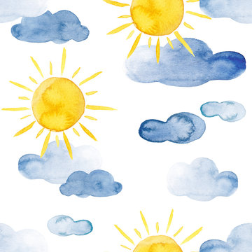 Yellow sun and blue clouds watercolor weather pattern set
